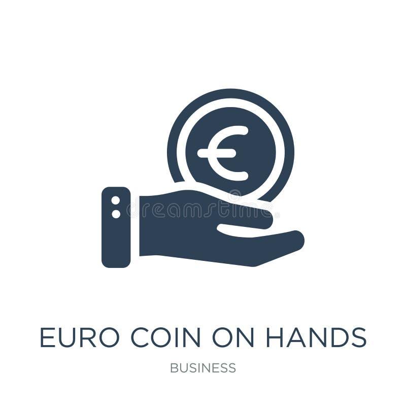 euro- moeda no ícone das mãos no estilo na moda do projeto euro- moeda no ícone das mãos isolado no fundo branco euro- moeda no v ilustração do vetor