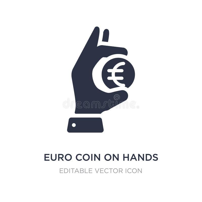 euro- moeda no ícone das mãos no fundo branco Ilustração simples do elemento do conceito do negócio ilustração stock