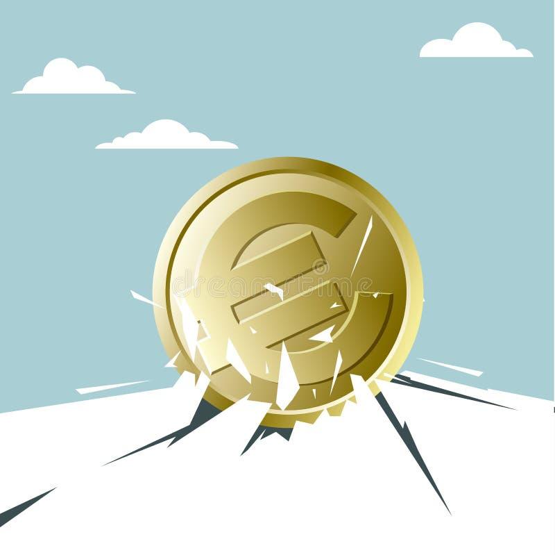 A euro- moeda quebrou através da terra ilustração royalty free