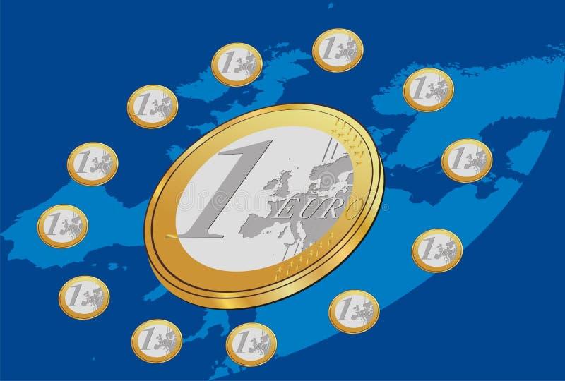 Euro- moedas coloc no círculo com fundo azul ilustração stock