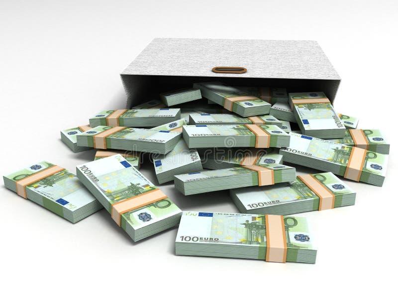 Euro- moedas com pacote cinzento ilustração do vetor