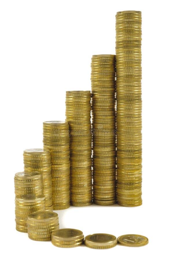 Euro- moedas empilhadas como a carta no mercado de troca fotos de stock royalty free