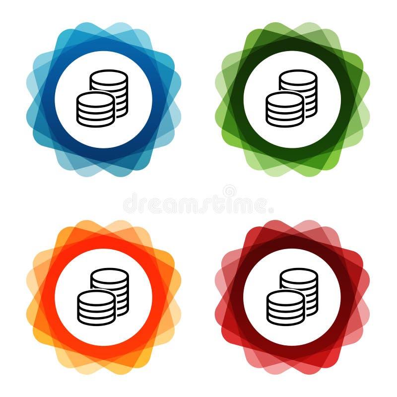 Euro moneta banka inwestycji ikony Eps10 Wektor ilustracja wektor