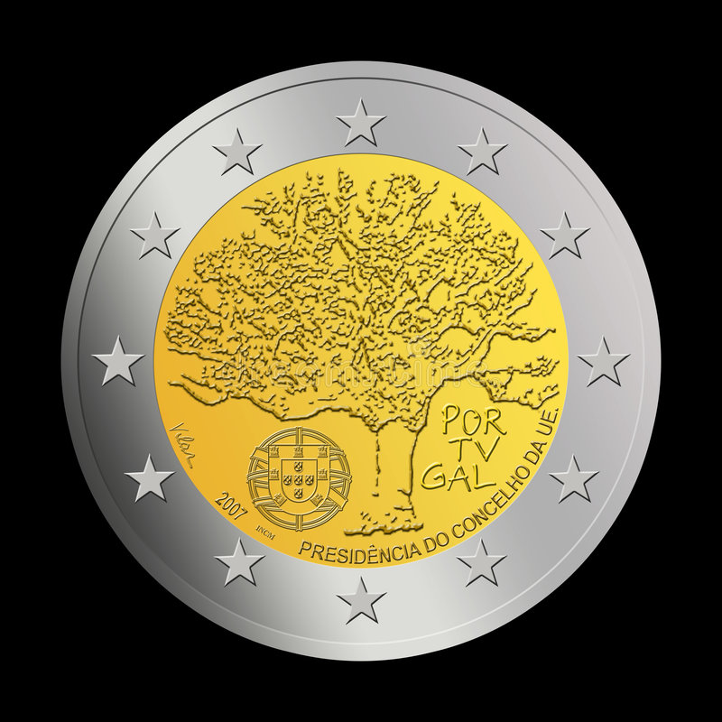 Euro moneta portoghese 2 immagine stock libera da diritti