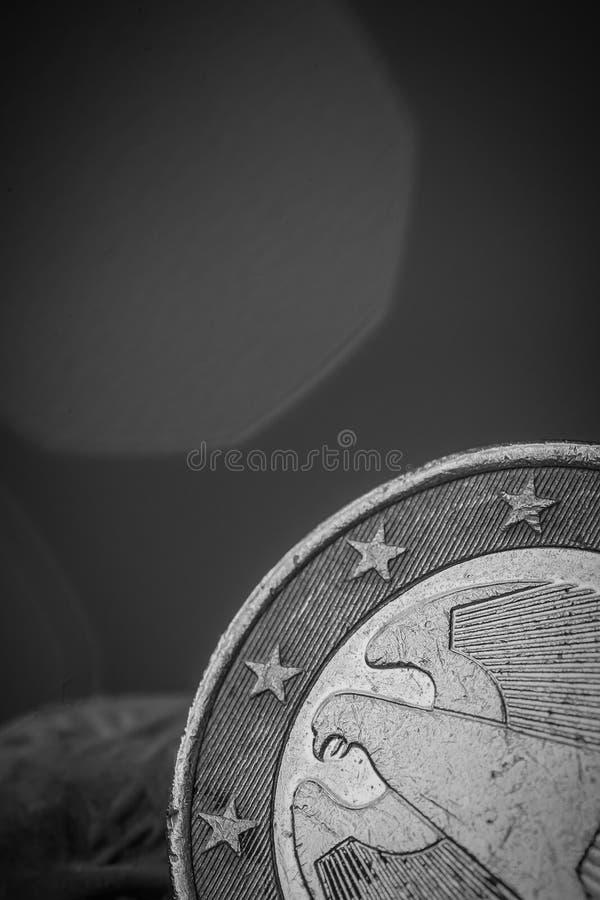 euro moneta w górę waluty, na obrazy stock