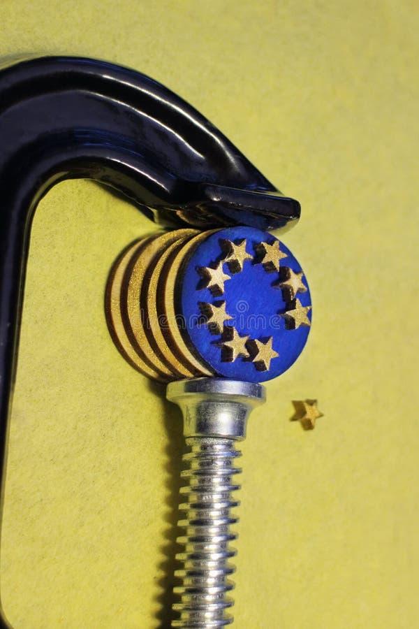 Euro moneta w kahata nacisku po brexit obraz stock