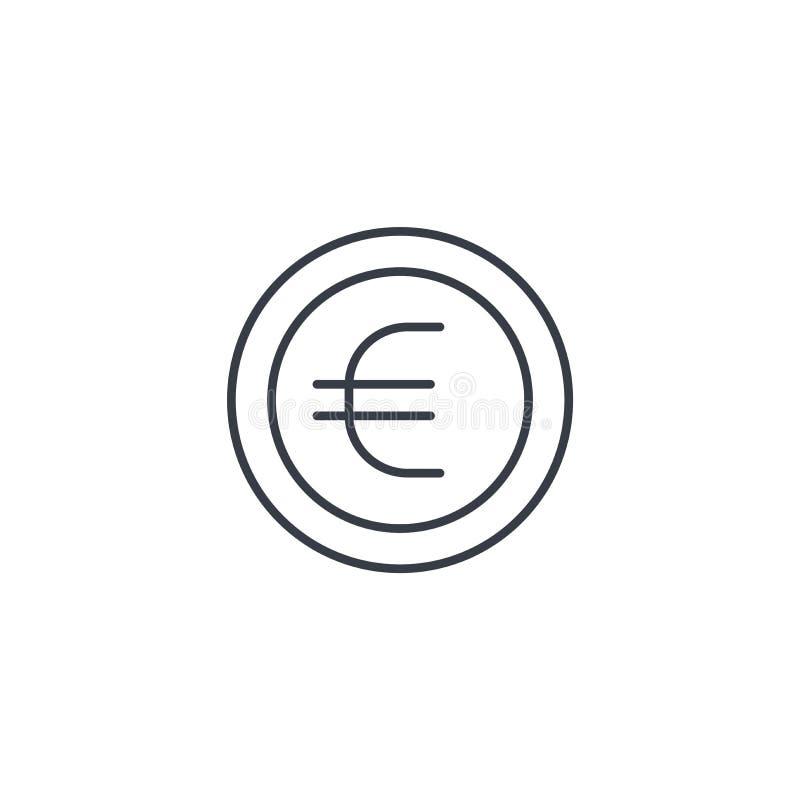Euro moneta, waluty cienka kreskowa ikona Liniowy wektorowy symbol royalty ilustracja