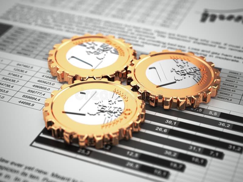 Euro monete come ingranaggio sul grafico commerciale. Concetto finanziario. illustrazione di stock
