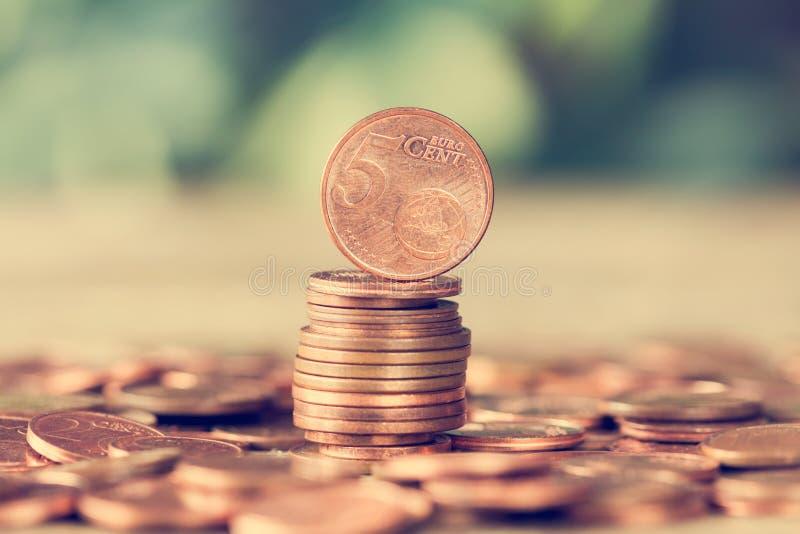 Euro monete del centesimo fotografie stock libere da diritti
