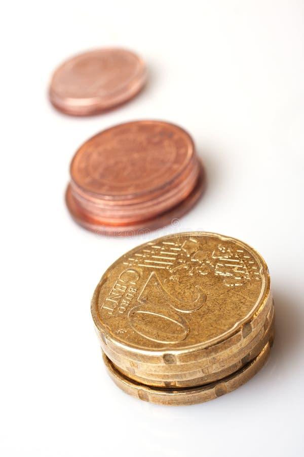 Euro monete del centesimo di vario valore fotografia stock libera da diritti