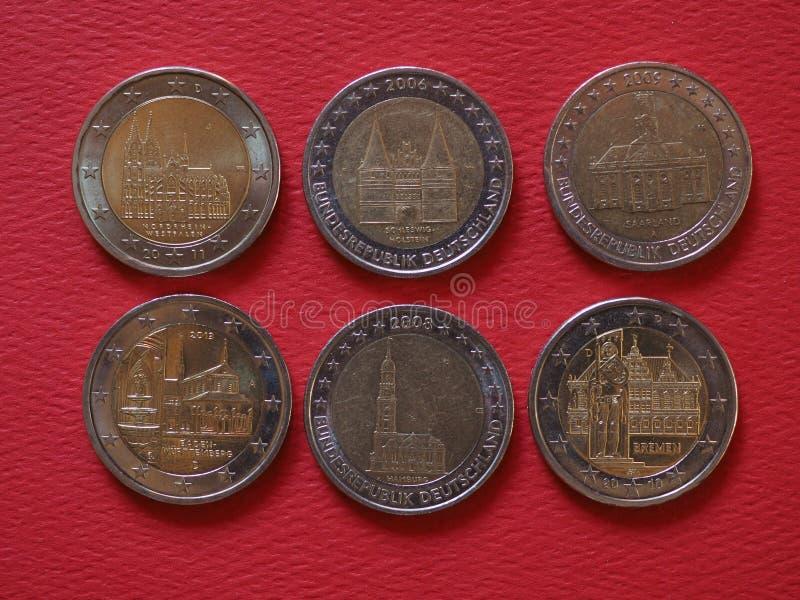2 euro monety, Europejski zjednoczenie, Niemcy obrazy royalty free