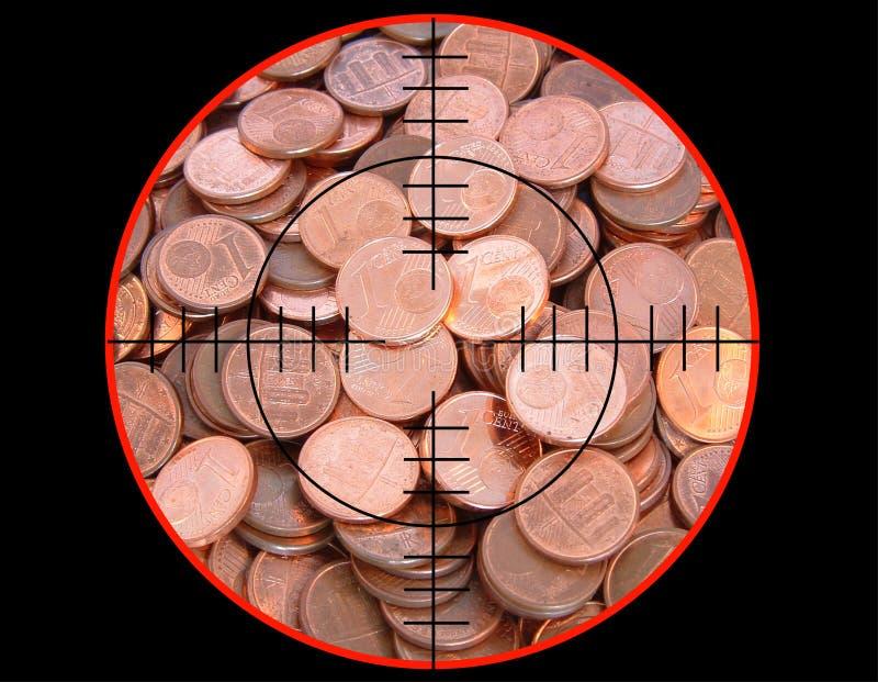 Euro monety pod strzelaniną fotografia royalty free