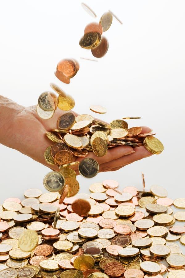 euro monety ręka fotografia royalty free