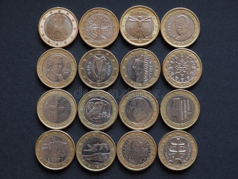 Euro monety wiele kraje zdjęcie royalty free