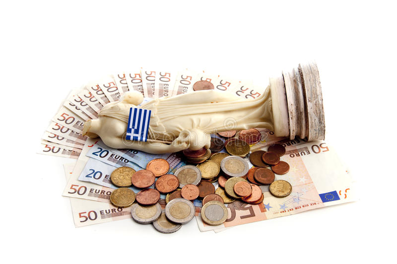 Euro money. Introducing the Greek downfall royalty free stock photography