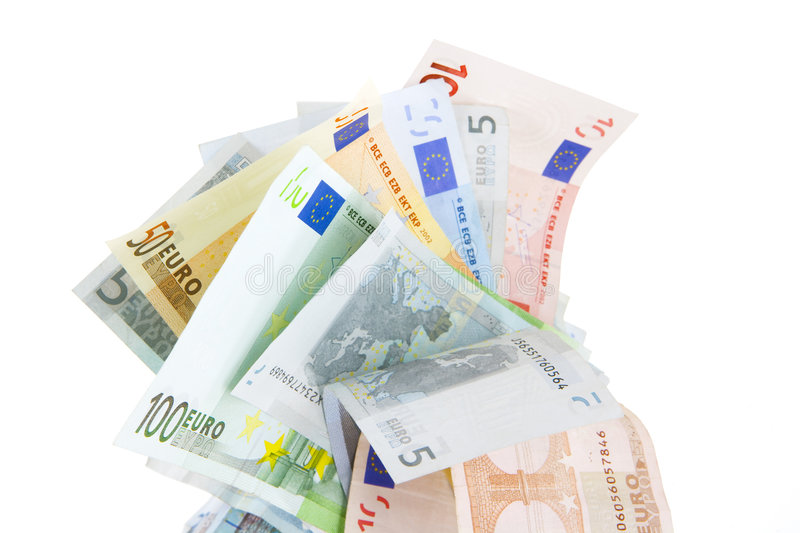 Euro money. Many different euro bank notes royalty free stock photography