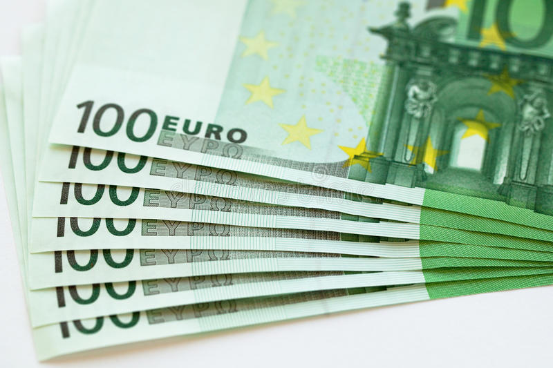 Euro money banknote. On the table royalty free stock photo
