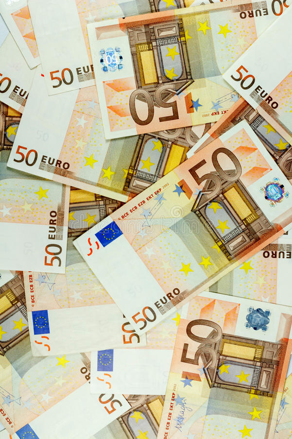 Euro Money Banknotes Background - 50 euro vertical royalty free stock image