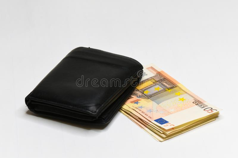Euro money banknotes and wallet. isolated. Black wallet and 50 euro bills isolated on white stock photo