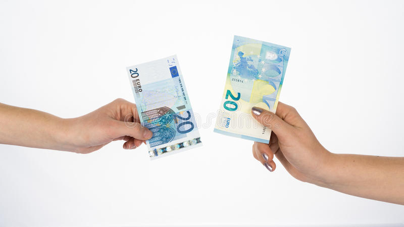 Euro money bills currency new and old banknotes. Euro money bills currency new stock photo