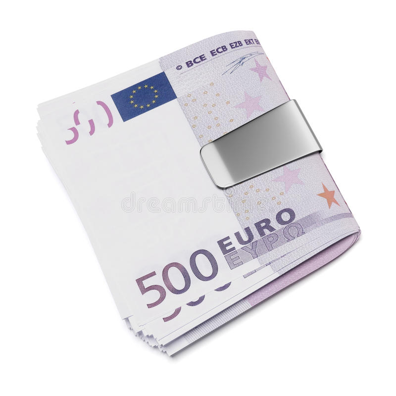 Euro in money clip stock illustration