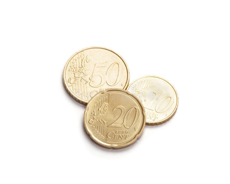 Euro money coins isolated on white. Three Euro money coins, 50, 20, 10 cents, isolated on white stock photos