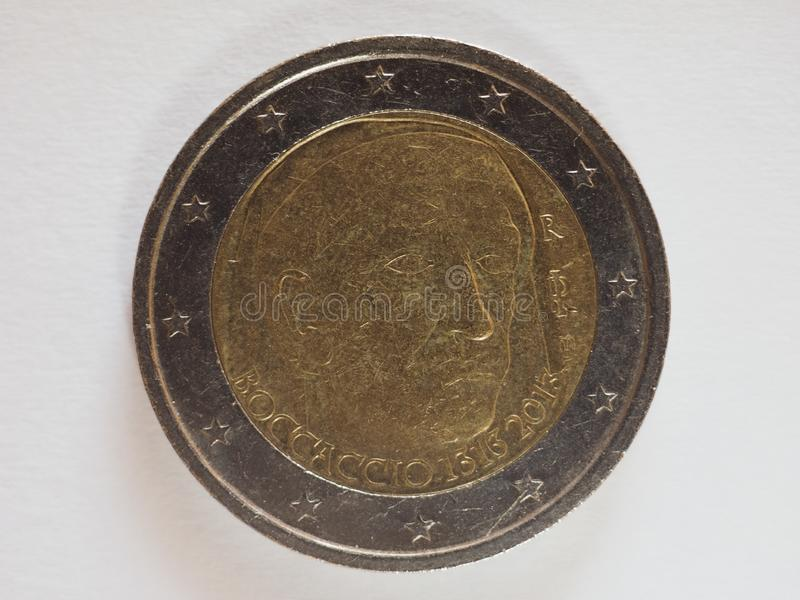 2 euro money EUR. Currency of European Union, commemorative coin showing ancient Italian poet Boccaccio stock image