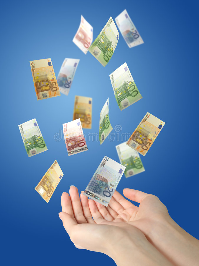 Download Euro Money Falling To Hands. Stock Photo - Image: 8626934