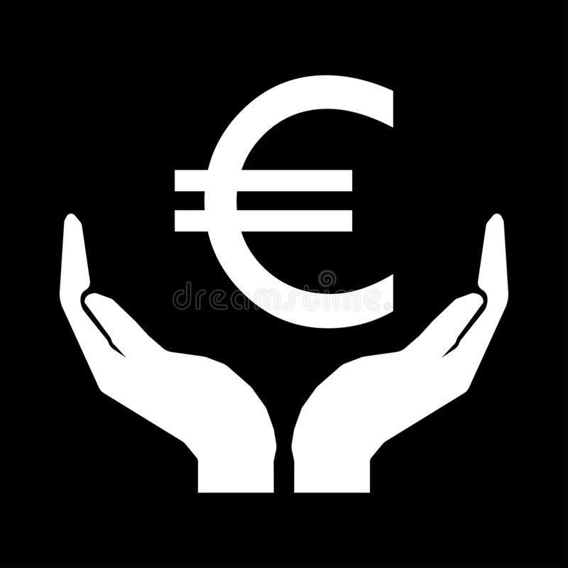 Euro money and hands. Take care money sign white on black background. Do not squander vector illustration