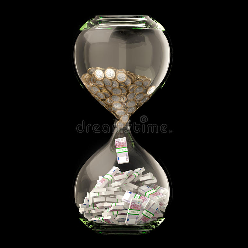 Euro Money In Hourglass Isolated On Black vector illustration