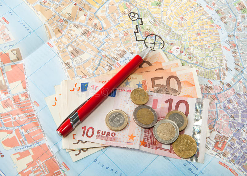 Euro money Map and red pen. Travel Arrangement of Euro money Map and red pen stock photos