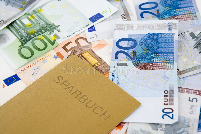 Euro money and passbook. Golden passbook and euro bank notes stock images