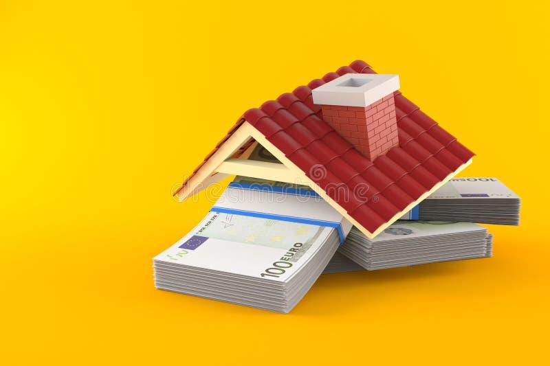 Euro money with roof. On orange background royalty free illustration