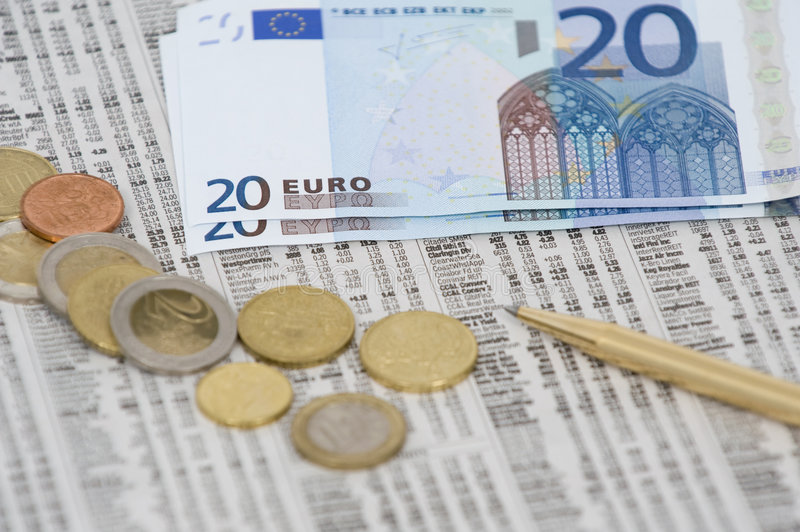 Euro Money On Stock Quotes Royalty Free Stock Image