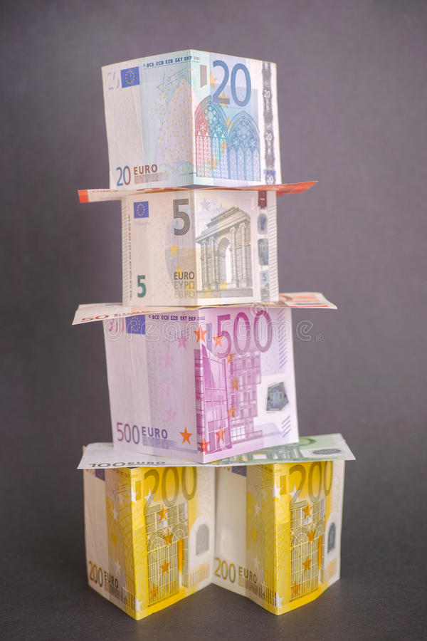 Euro money tower stock photos