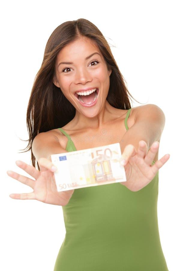 Euro money woman royalty free stock photography