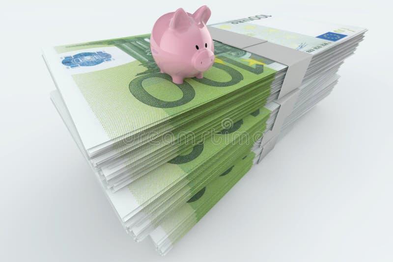 Euro- Moneystack com banco piggy ilustração royalty free