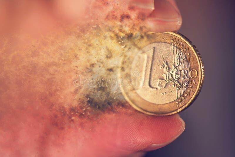 Euro muntinflatie en crisisconcept royalty-vrije stock foto