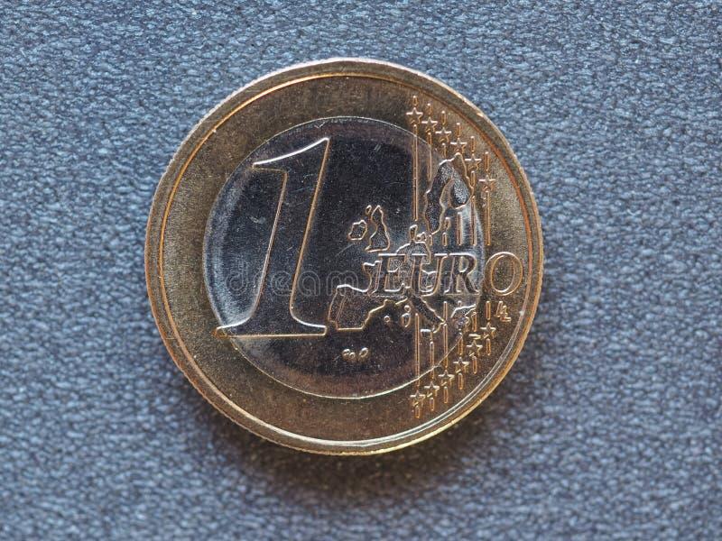 1 euro muntstuk, Europese Unie stock fotografie
