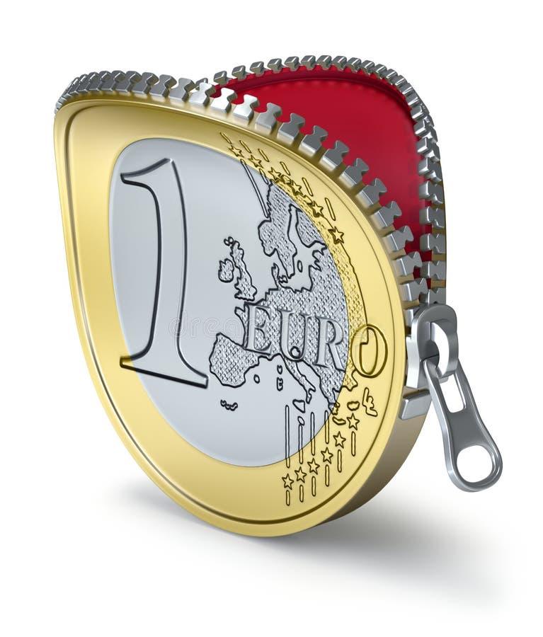 Euro muntstuk met ritssluiting stock illustratie