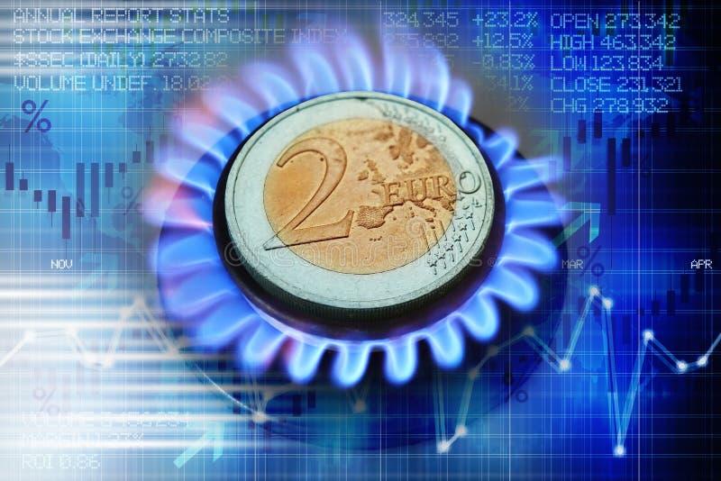 Euro muntstuk op gasfornuis die verwarmingskosten of aardgasprijsevolutie voorstellen stock afbeelding