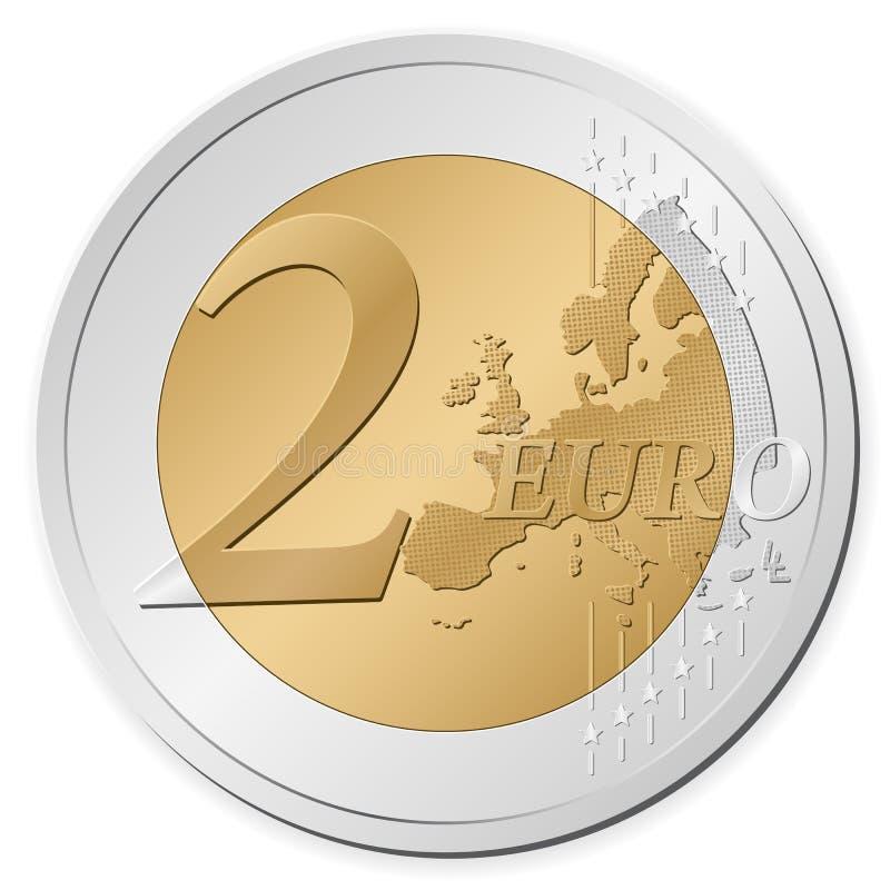 Euro muntstuk twee stock illustratie
