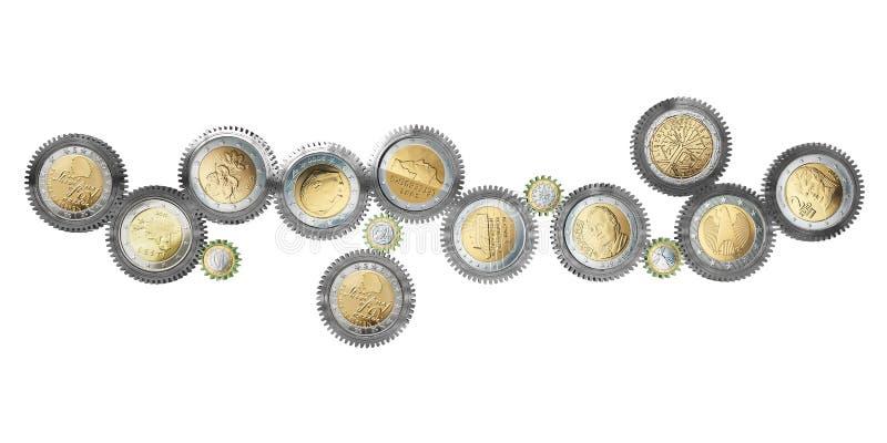 Euro-muntstuk-werktuigkundigen vector illustratie