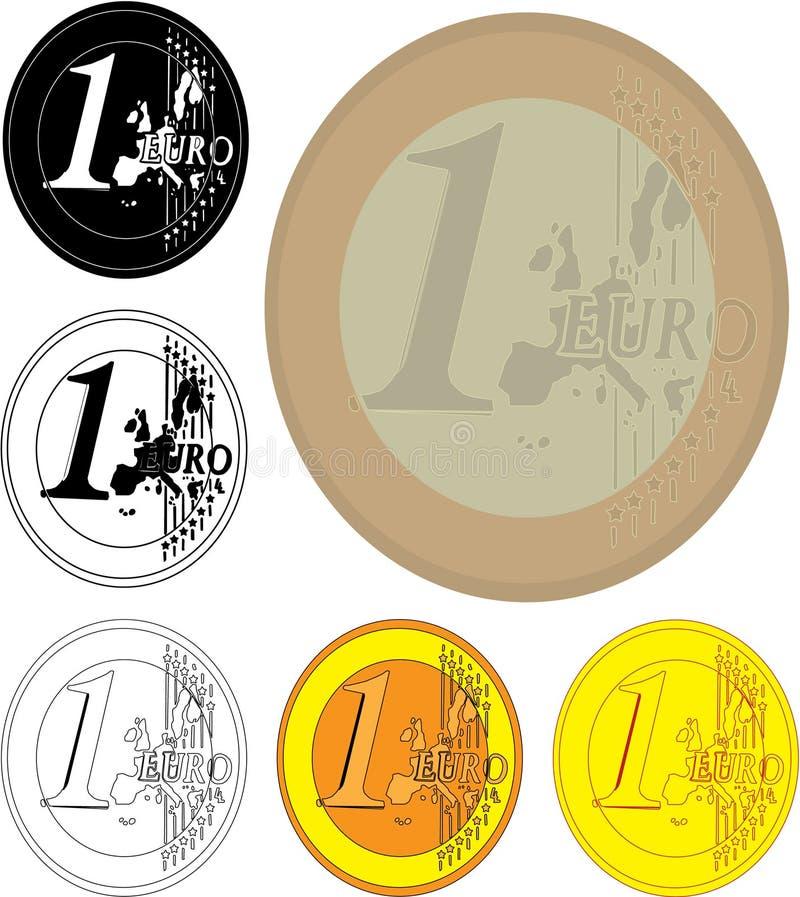 Euro muntstukken één stock foto's