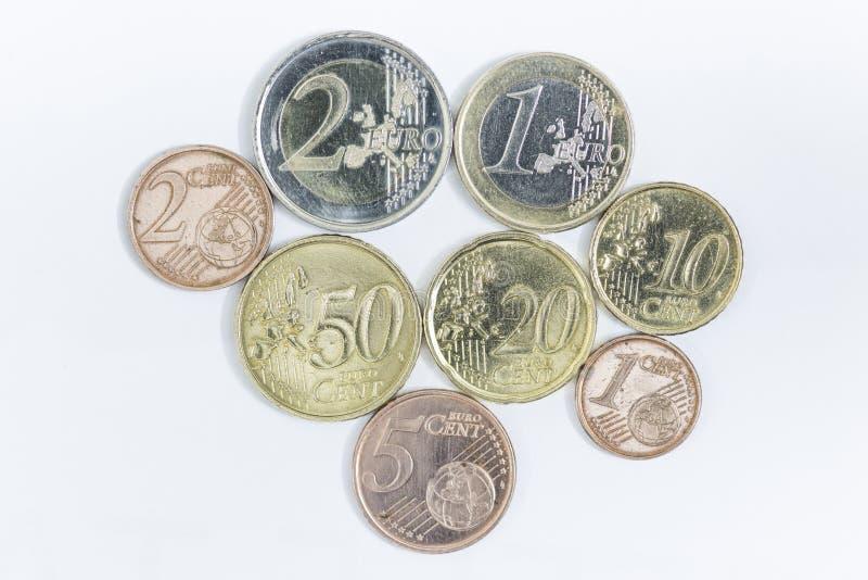 Euro muntstukken en centen stock foto's
