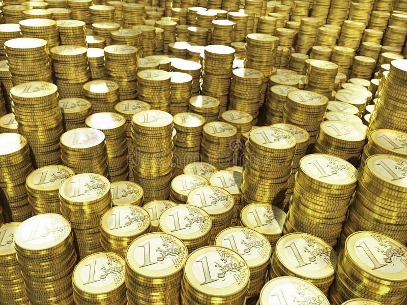 Euro muntstukken in stapels stock illustratie