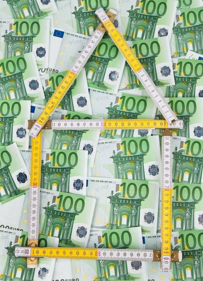 Euro- nota de banco e fita fotos de stock