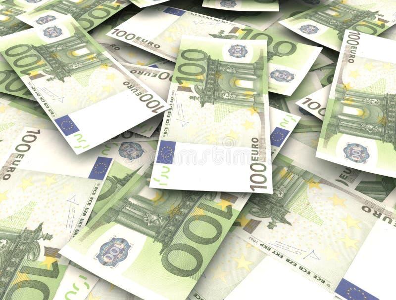 Euro- notas com reflexão ilustração stock