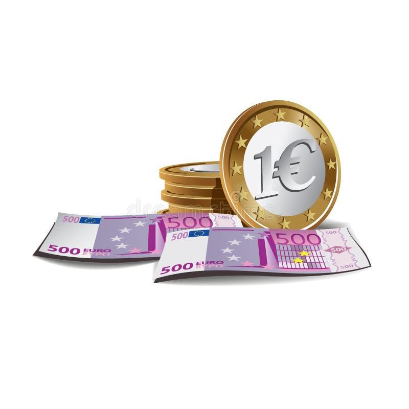 Euro- notas de banco e moedas ilustração royalty free