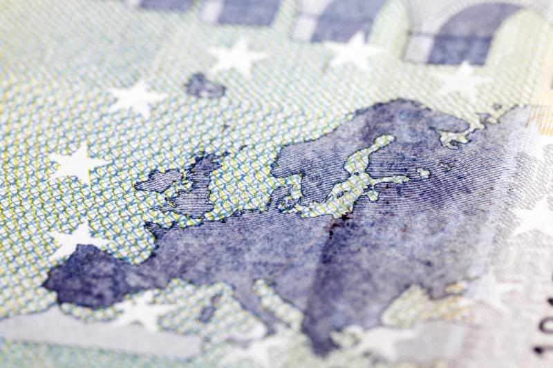 Euro note, closeup royalty free stock photography